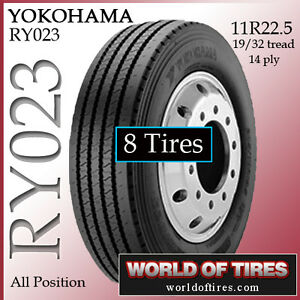 8 Tires Yokohama Ry023 11r22 5 Tire Semi Truck Tires 11r225 11225 Truck Tire