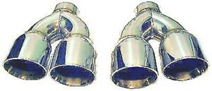 2 Stainless Steel Dual Exhaust Tips Pair 3 0 3 5 Camaro Trans Am 3 3 5 Mustang