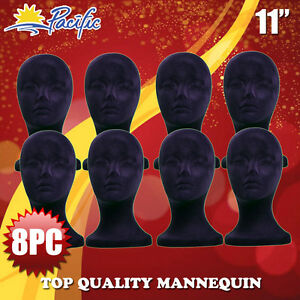 Halloween 8pc Styrofoam Foam Black Velvet Mannequin Manikin Head Display Wig