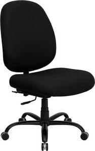400lbs Capacity Big Tall Black Fabric Office Chair Extra Wide Seat