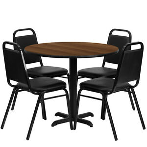 36 Round Walnut Laminate Top Restaurant Table Set With 4 Black Banquet Chairs