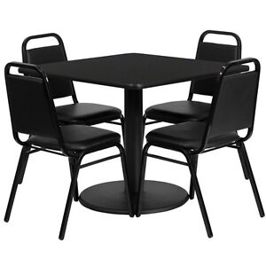 36 Square Black Laminate Top Restaurant Table Set With 4 Black Banquet Chairs