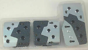 Universal 3 Piece Sports Carbon Fiber Silver Foot Pedals Pad Covers