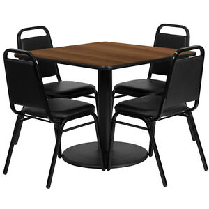 36 Square Walnut Laminate Top Restaurant Table Set With 4 Black Banquet Chairs