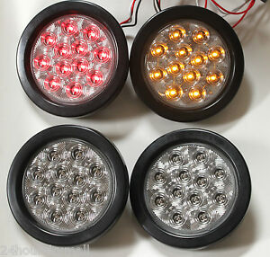 4 Led 4 Round Stop Turn Tail Light Kits 2 Red 2 Amber Clear Lens Truck Traier