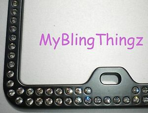 Inset Blk Diam Crystal Rhinestone Black License Plate Frame W Swarovski Elements