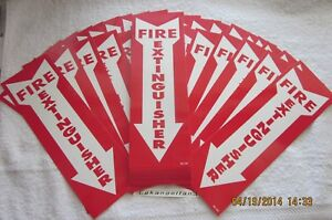 Lot Of 50 self adhesive Vinyl 4 x12 fire Extinguisher Arrow Signs new