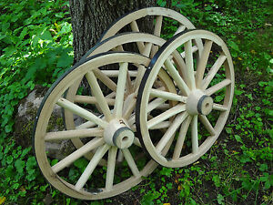 Four Decorative Wooden Wagon Cart Wheels Hardwood Many Uses High Quaility