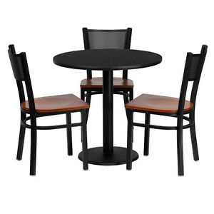 30 Round Black Laminate Top Restaurant Table Set With 3 Grid Back Metal Chairs