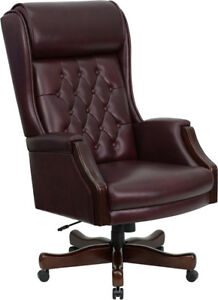 High Back Traditional Tufted Burgundy Leather Executive Home Or Office Chair