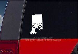 Indiana Deer Hunting State Decal Sticker In Buck Antler Bow Hunt
