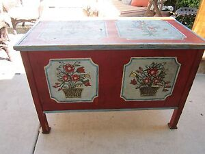 Antique German Hand Painted Legged Wooden Wedding Chest Trunk