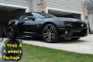 20 10 Camaro Zl1 Tire Wheels Package Black Machined Fits For 10 15 Rims