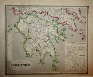 1853 Reichard Forbiger Map Ancient Peloponnese Greece Scholarly And Decorative