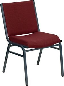 Heavy Duty Burgundy Fabric Stack Office Side Chair Reception Guest Side Chair