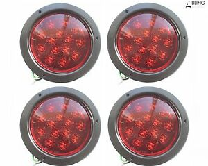 4 Led Flush mount Stop Turn Tail Lights Round Red Truck Trailer Rv 14 Diode