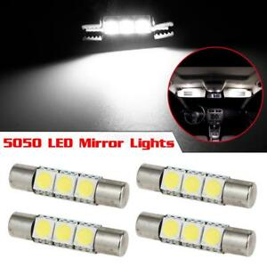 4 Xenon White 3 Smd 6641 Led Bulbs For Car Vanity Mirror Lights Sun Visor Lamp