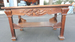 Antique Oak Mission Arts And Crafts Berkey Carved Incised Library Center Table