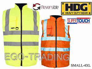 High Vis Safety Reversible Warm Padded Body Warmers Work Waistcoats Rrp 25