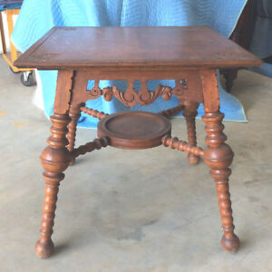 Antique Victorian Hunzinger Style Oak Parlor Center Table Spirals Early 1900 S