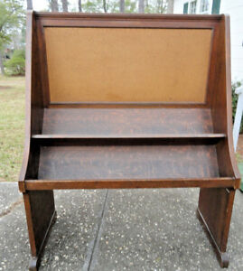 Antique Oak Book Shelf Cork Bullentin Board C 1930s 40 60 H 48 W 21 3 4 D