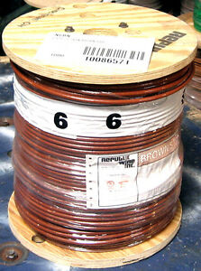 Thhn 1000 Ft 6 Awg Stranded Copper Wire 600 Volt 65 Amp Brown
