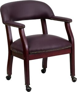 Burgundy Leather Luxurious Conference Chair With Casters Office Chair