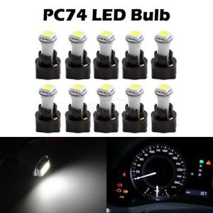 10pcs Pc74 Twist in White 5050 Smd Instrument Panel Dash Light Led Bulb Sockets
