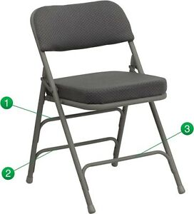 Metal Folding Chair With Gray Fabric Triple Braced Double hinged Heavy Duty