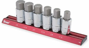 6 Piece 1 2 Drive Sae Inch Large Hex Bit Socket Set Tit16130 Brand New