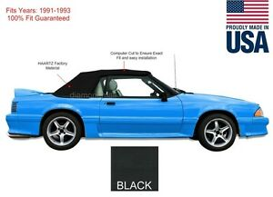 New Ford Mustang Convertible Soft Top With Glass Window 1991 1993 Black Vinyl