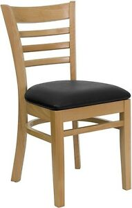 Natural Wood Finished Ladder Back Restaurant Chair With Black Vinyl Seat