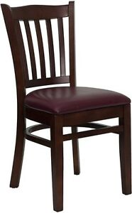 Mahogany Finished Vertical Slat Back Wooden Restaurant Chair Mahogany Vinyl