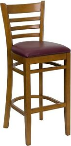 Cherry Wood Finished Ladder Back Restaurant Bar Stool With Burgundy Vinyl Seat