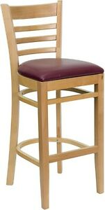 Natural Wood Finished Ladder Back Restaurant Bar Stool With Burgundy Vinyl Seat