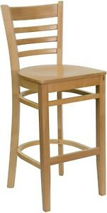 Natural Wood Finished Ladder Back Restaurant Bar Stool With Wood Seat