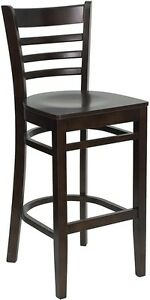 Walnut Wood Finished Ladder Back Restaurant Bar Stool With Matching Wood Seat