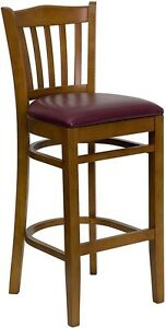 Cherry Wood Finished Vertical Slat Back Restaurant Bar Stool With Burgundy Vinyl