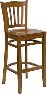 Cherry Wood Finished Vertical Slat Back Restaurant Bar Stool With Wood Seat