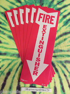 lot Of 6 Self adhesive Vinyl fire Extinguisher Arrow Sign s 4 X 12 New