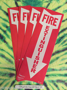 lot Of 4 Self adhesive Vinyl fire Extinguisher Arrow Sign s 4 X 12 New
