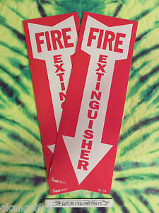 lot Of 2 Self adhesive Vinyl fire Extinguisher Arrow Sign s 4 X 12 New