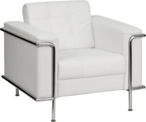 Lesly Series White Leather Guest Lounge Chair With Stainless Steel Frame
