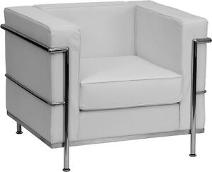 Regal Series Contemporary White Leather Guest Lounge Chair With Encasing Frame