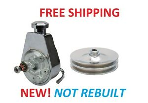 Chrome Power Steering Pump Chrome Pulley 2 Groove New W Reservoir Both New