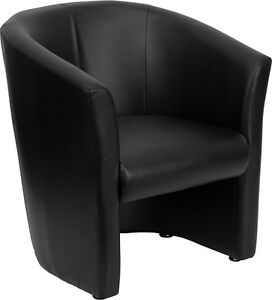 Black Leathersoft Barrel shaped Office Reception Guest Chair Lounge Chair