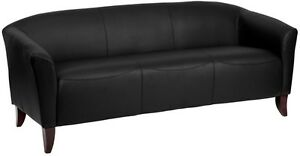 Imperial Series Black Leathersoft Sofa Reception Guest Lounge Furniture
