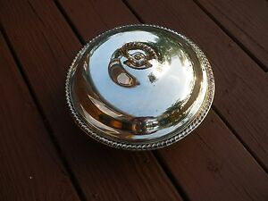 Vintage Casserole Silver Metal Covered Pyrex Bowl Insert Cooking Post 1940