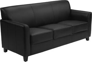 Diplomat Series Black Leathersoft Sofa Reception Guest Lounge Furniture