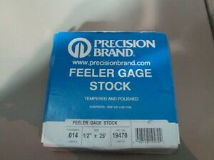 Precision Brand Feeler Gage Stock 19470 1 2 X 25 014 Thick New